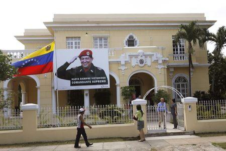 A banner of Venezuela's late president Hugo Chavez is seen at the Venezuelan embassy in Havana March 10, 2015. REUTERS/Stringer